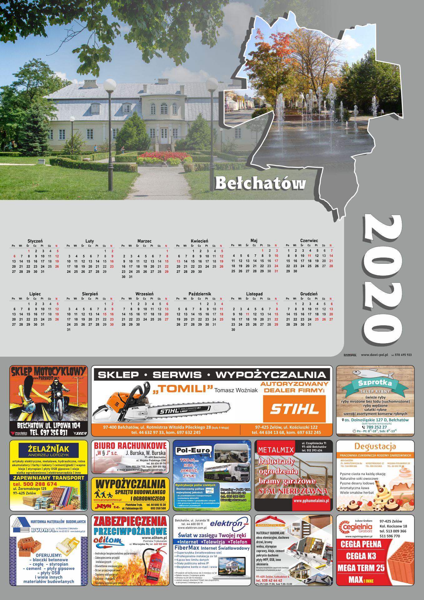kalendarze - bełchatów 2020
