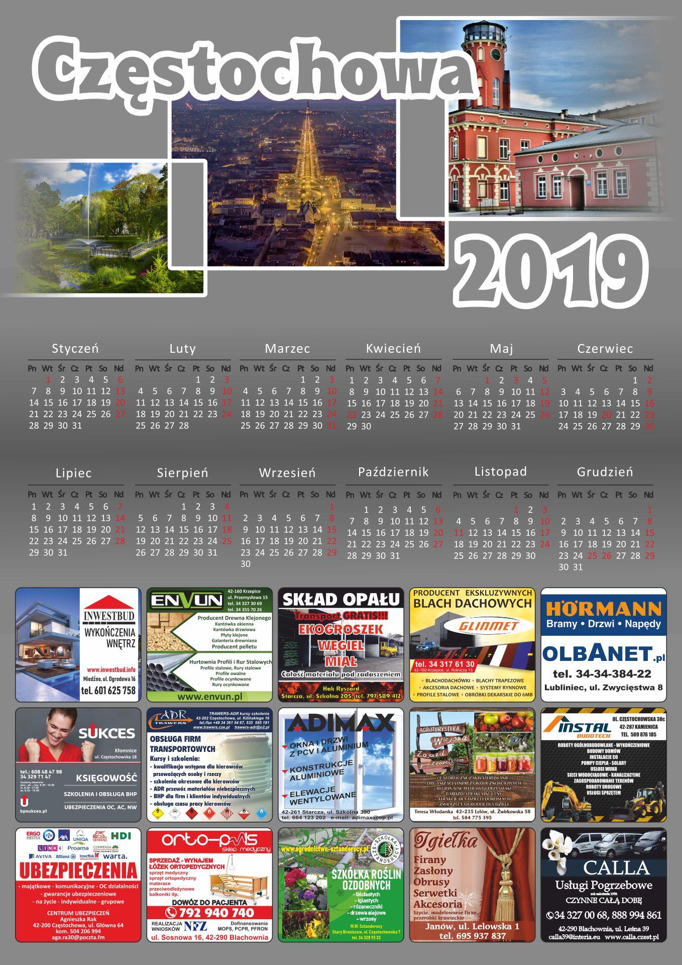 kalendarze - częstochowa 2019