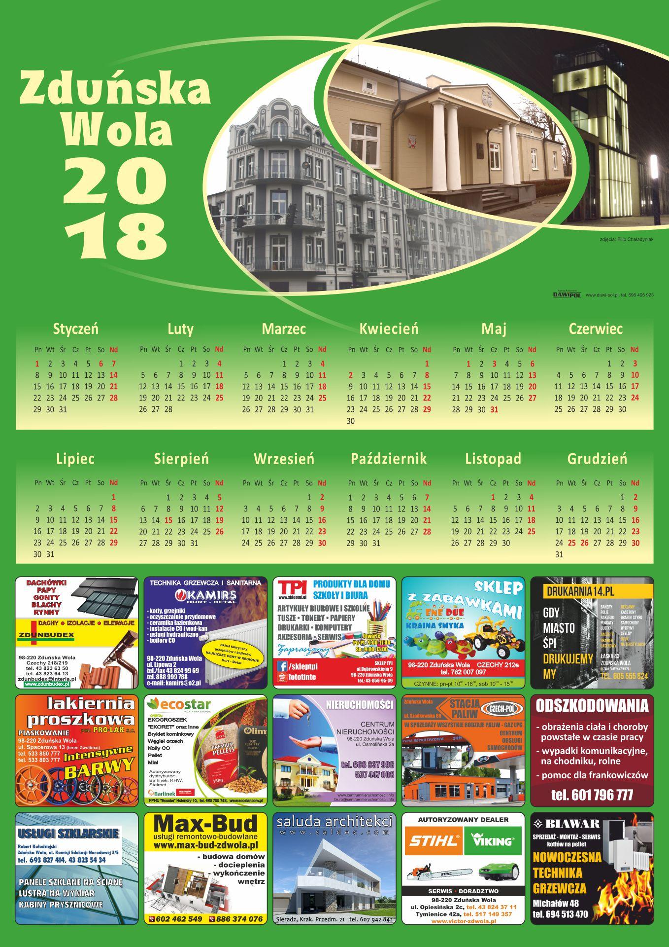 kalendarze - zduńska wola 2018